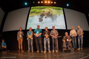 Trotse auteurs laatste praktijkboek wildlife fotografie, naast Daan v.l.n.r: Paul van Hoof, Arjen Drost, Marijn Heuts, Bob Luijks, Jan van der Greef, Jan Vermeer