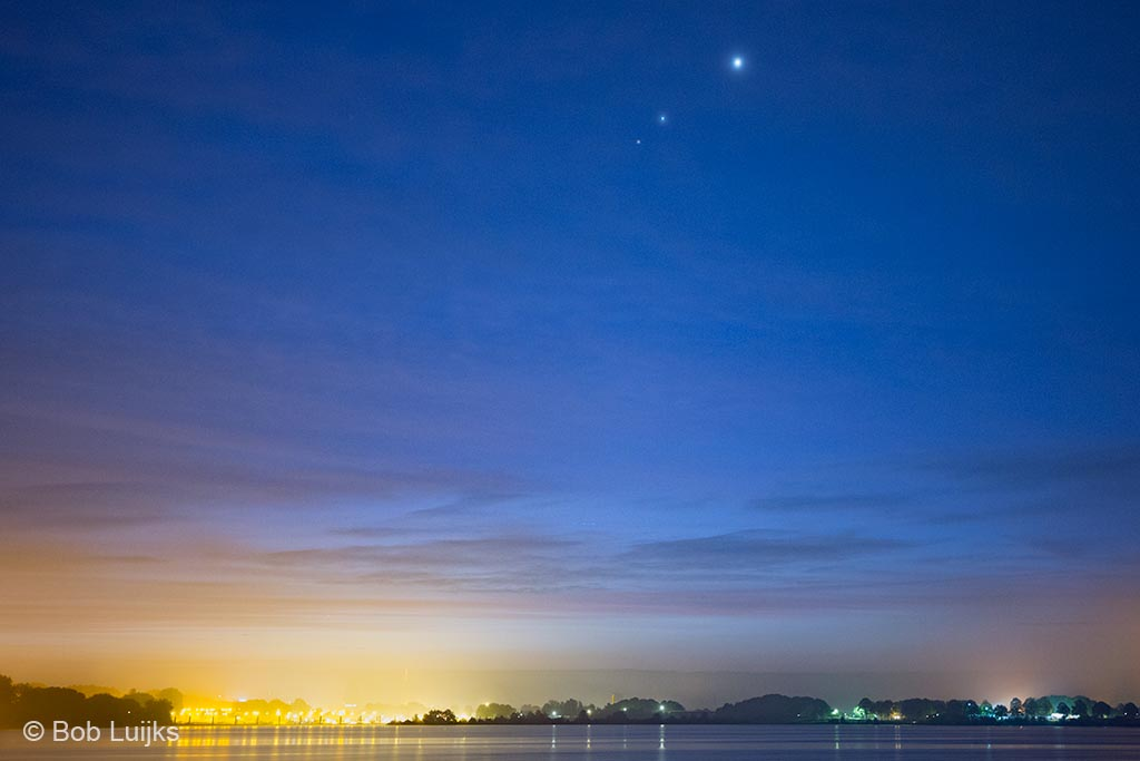 Planeetsamenstand Venus, Jupiter en Mars