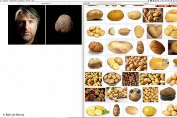 De bewuste fotograaf en de aardappel. Voor de zekerheid: de aardappel staat rechts. De fotograaf heeft zichzelf vastgelegd in de voor hem kenmerkende stijl. Weinig verheffend, niet?