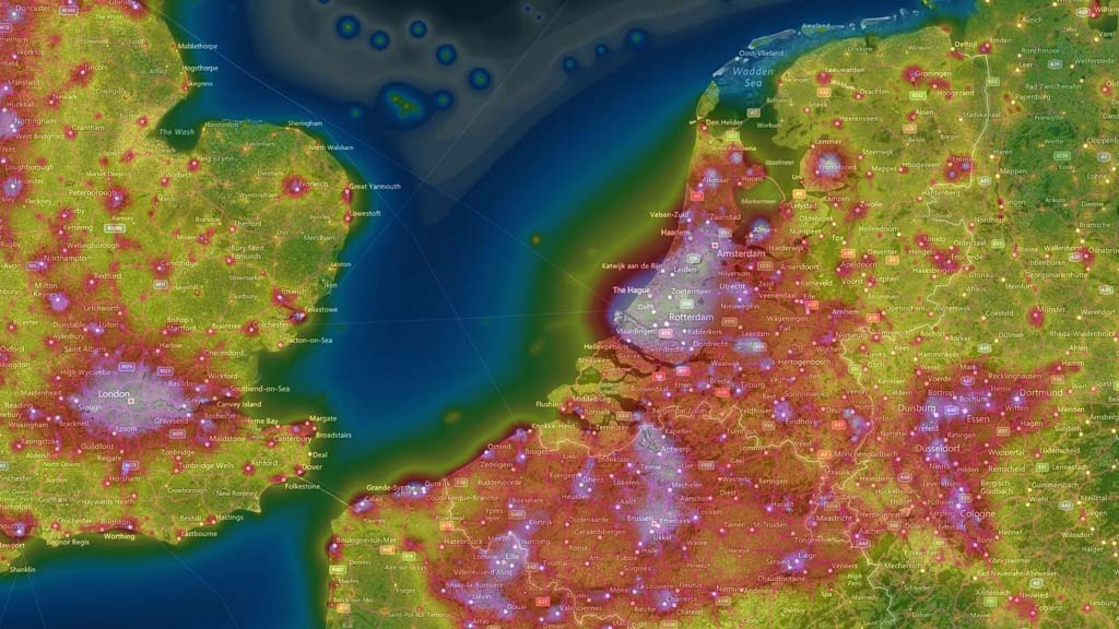 Light Pollution Map Europe 1024