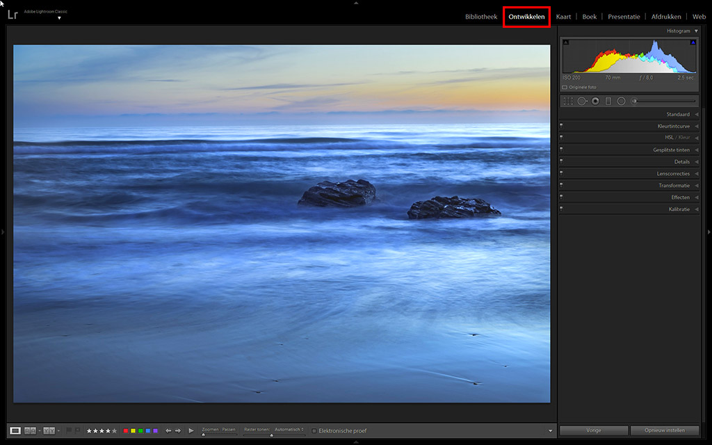 Customize de ontwikkelmodule in Lightroom