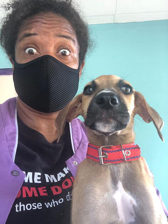 Crazy selfie met hond.