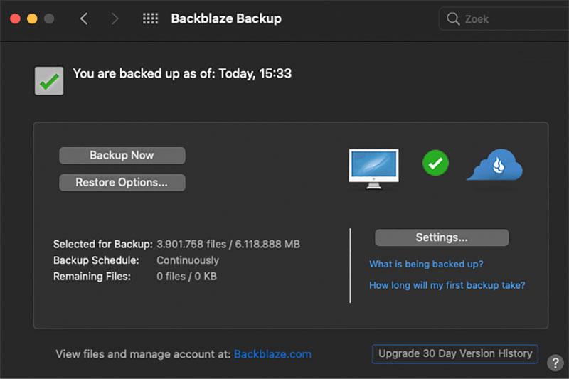 Backblaze backup