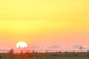 De zon komt op in de vroege ochtend.